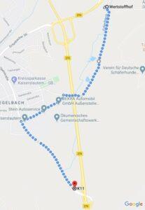 Geänderte Zufahrt zum Corona-Testzentrum in Erfenbach