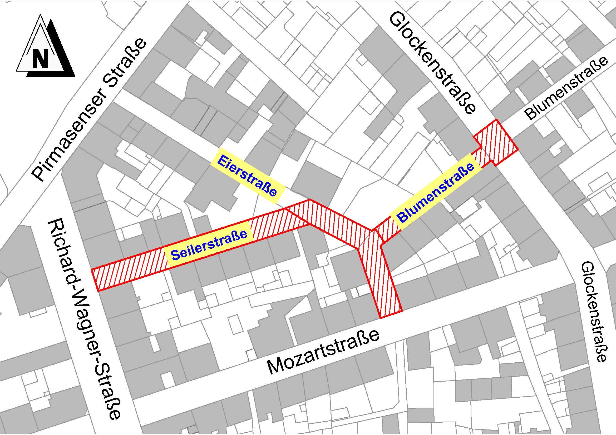 Vollsperrung der Seiler-, Eier- und Blumenstraße